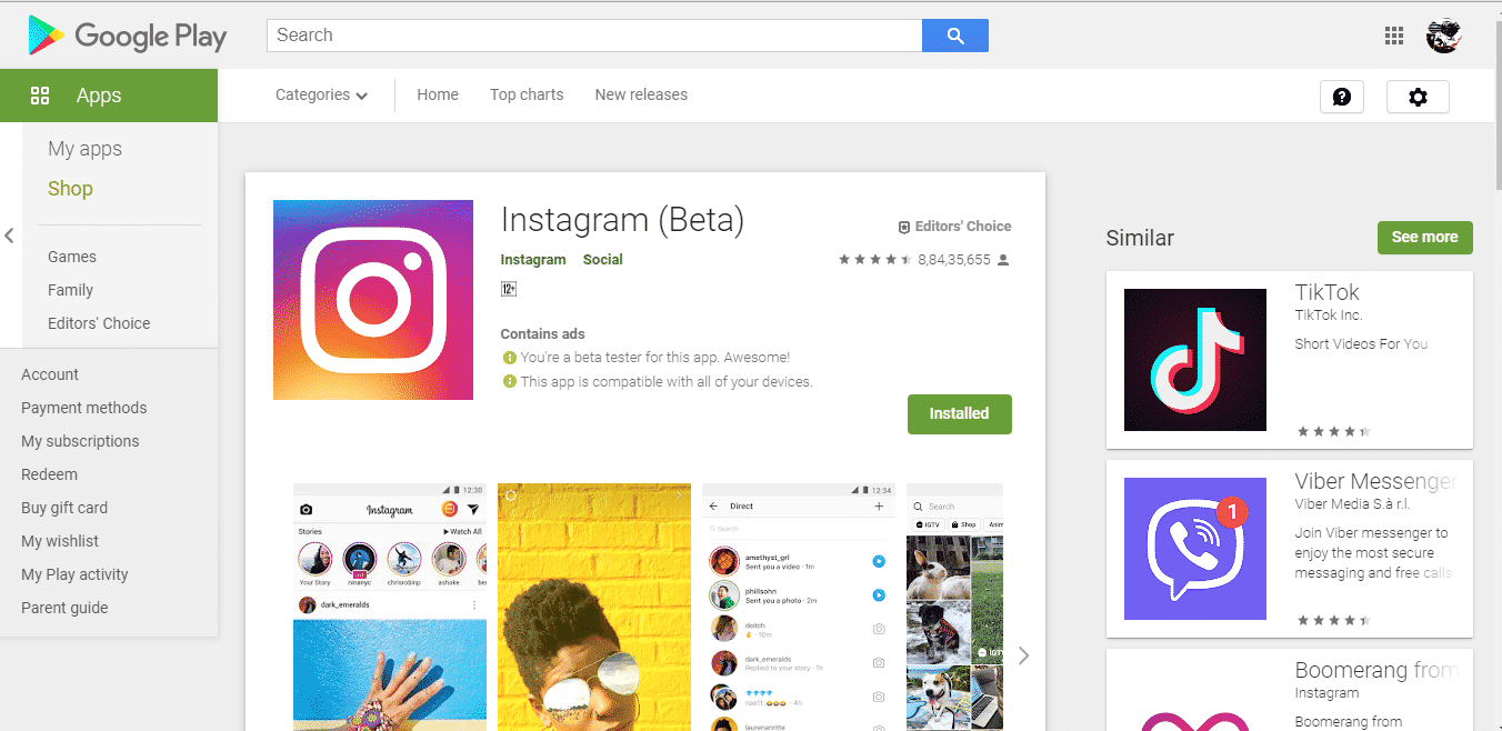 Instagram removed from Play store