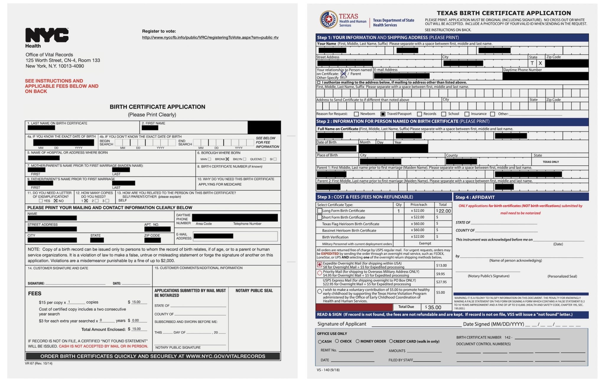Birth Certificates of NYC & Texas