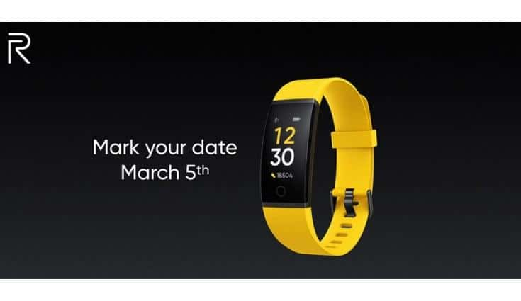 Realme Smart Band Confirmed To Launch In India on 5 March