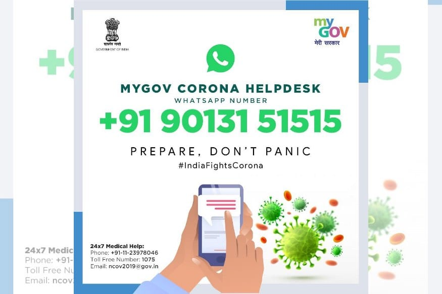 Gov Launches MyGov Corona Helpdesk On Whatsapp To Give Coronavirus Information
