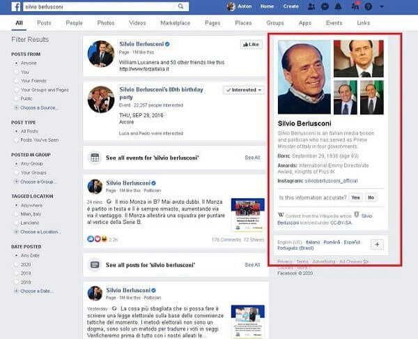 Facebook Search with Wikipedia Box