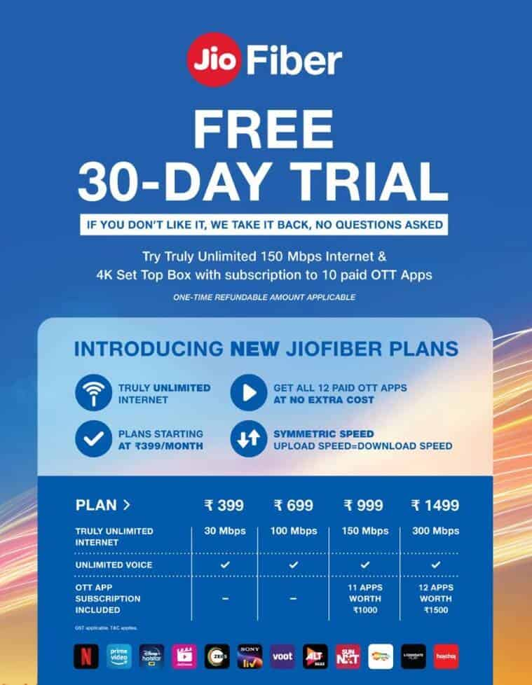 JioFiber Broadband New Plans Offers Unlimited Data And Free 12 OTT Apps
