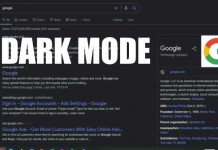 Dark mode on Google Search